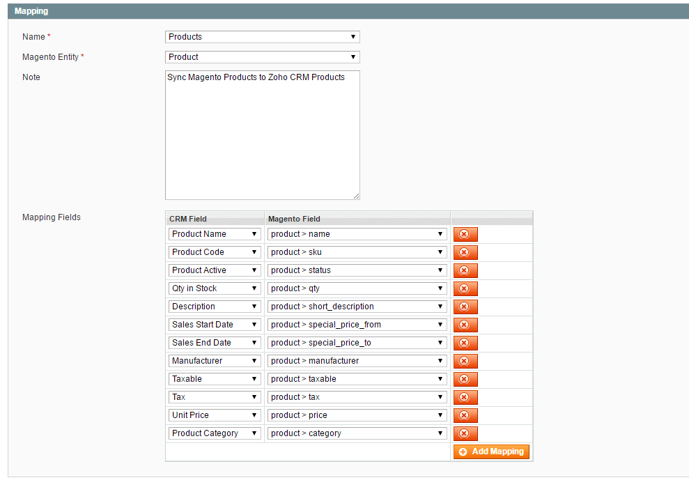 Magento Mapping fields with SugarCRM