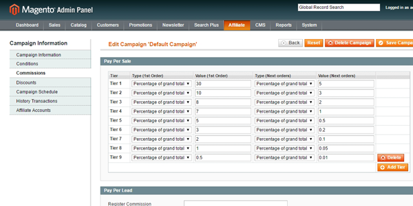 magento affiliate campaigns