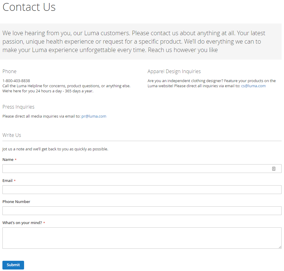 How to configure Contacts form and contact email address Contact us form