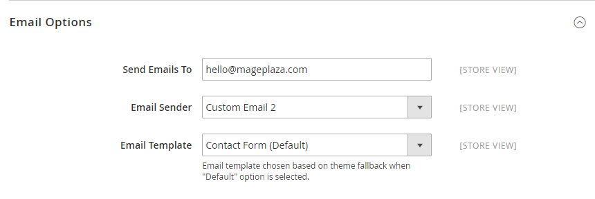 How to configure Contacts form and contact email address Email Options