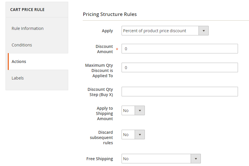 How to Create a Cart Price Rule Cart Actions