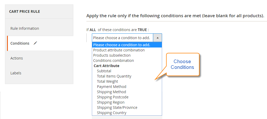 How to Create a Cart Price Rule Cart Choose Conditions