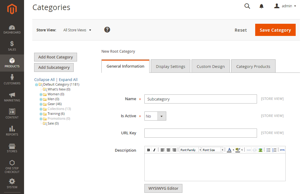 How to Create a New Root Category Create Subcategory