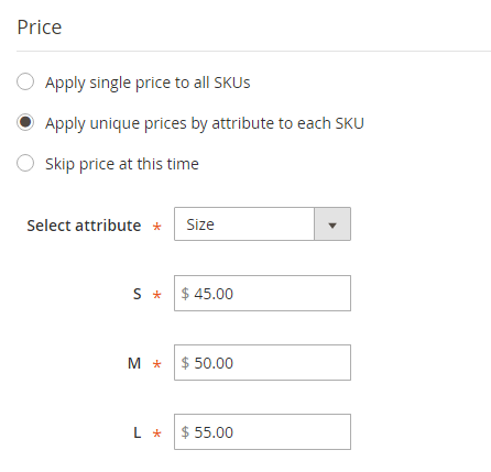 How to create Configurable Product Unique Price per SKUs