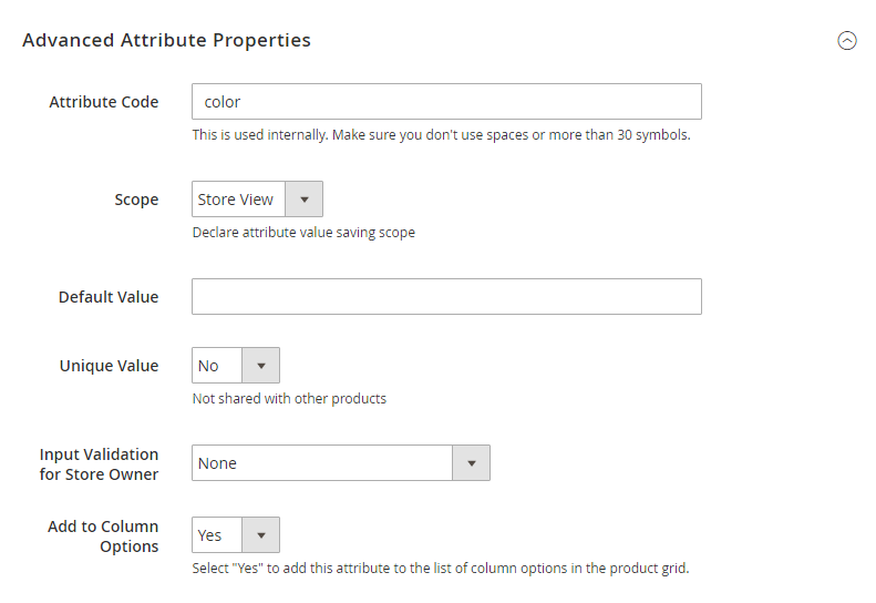 How to create a product attribute Advanced Attribute Properties