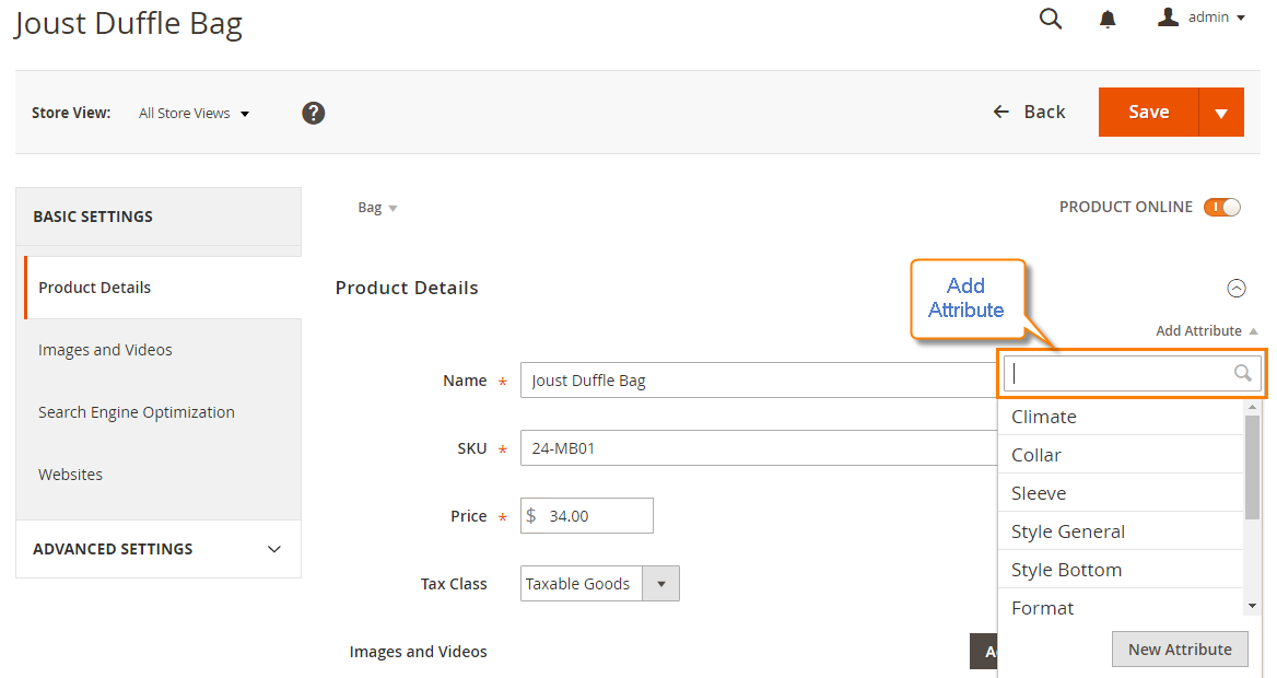 How to create a product attribute create new Attribute