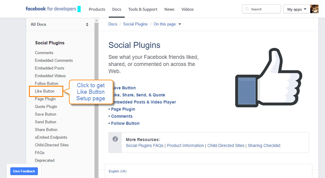 How to Add Social Widget without extension: Facebook Social Plugins Facebook Setup Page