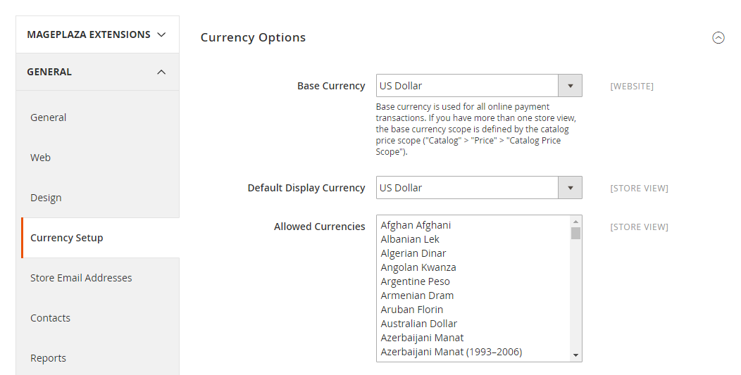 How to Configure Currency Currency Options