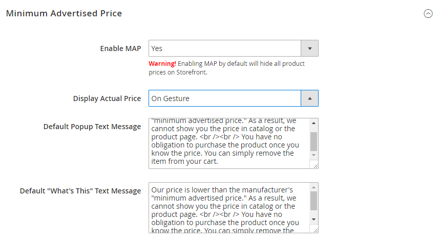 How to Configure Minimum Advertised Price (MAP) MAP settings