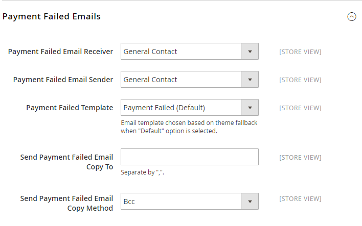 How to configure Payment Failed Email