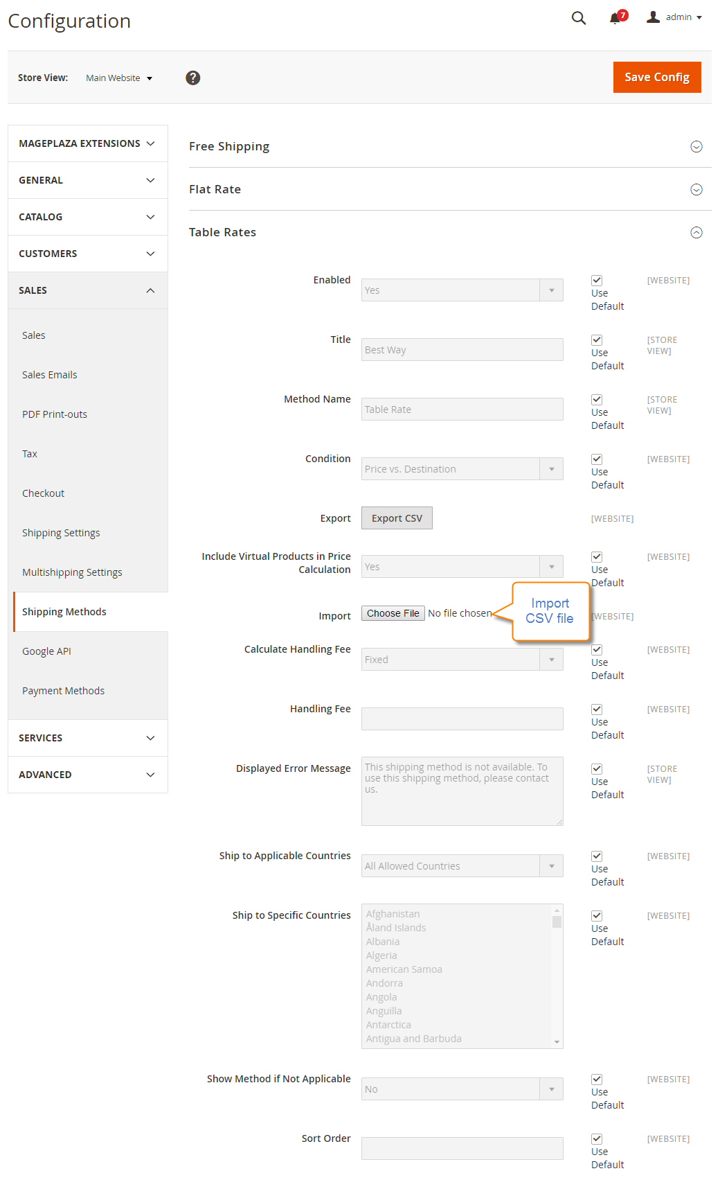 How to Configure Table Rates Shipping Method Import CSV file