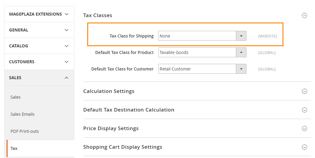 How to Configure US Tax Tax Classes Settings