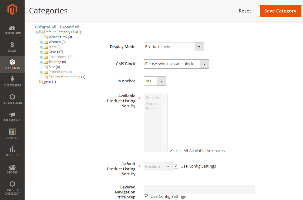 How to create a new category displaying settings