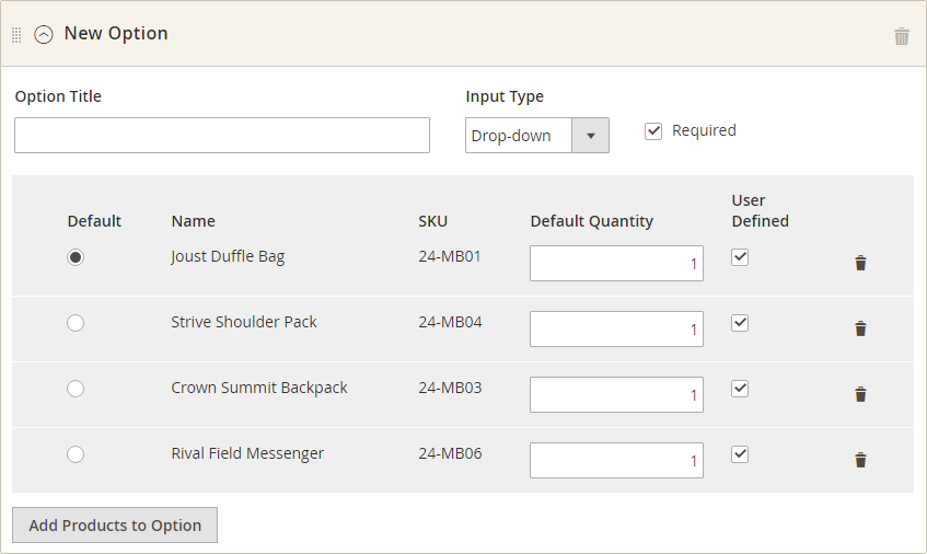 How to create Bundle Product Option Items