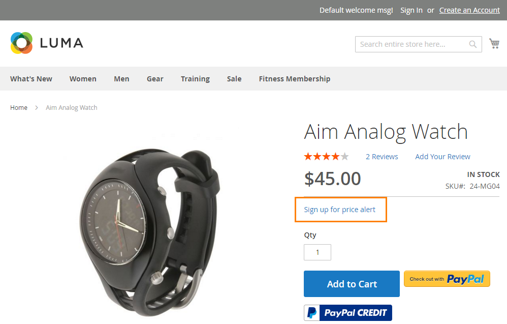 How to Setup Product Price Email sign up for price alert