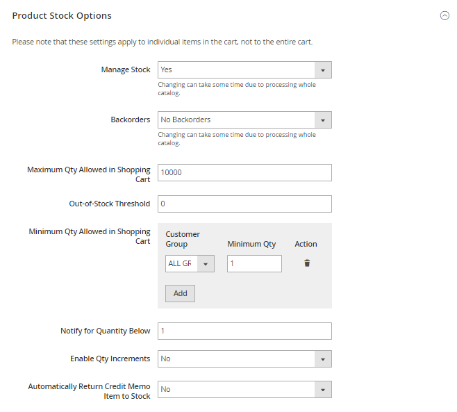 How to setup Stock product stock option config