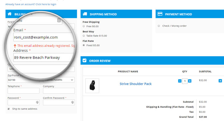 one step checkout Auto detect customer account
