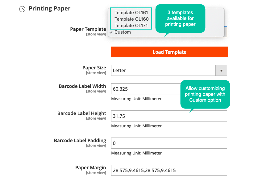 Magento 2 barcode customize priting paper