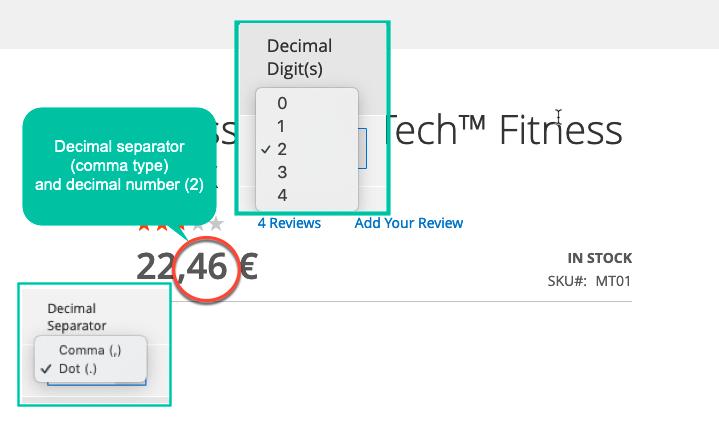 magento 2 currency formatter define sign and digit for decimal separator