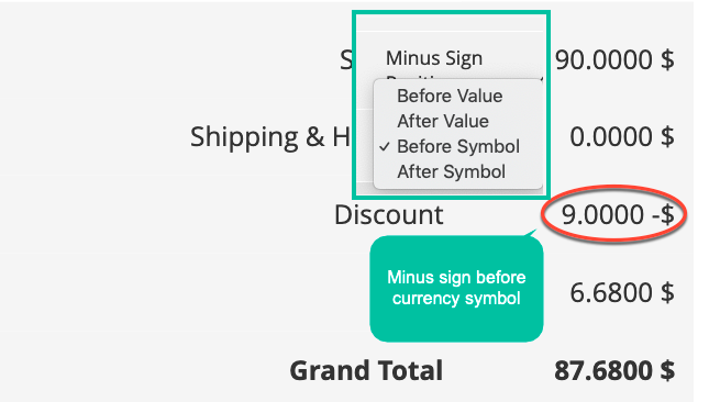 magento 2 currency formatter multi-positions of the minus sign