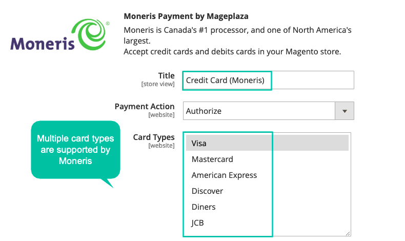 Magento 2 Moneris supports multiple credit card types