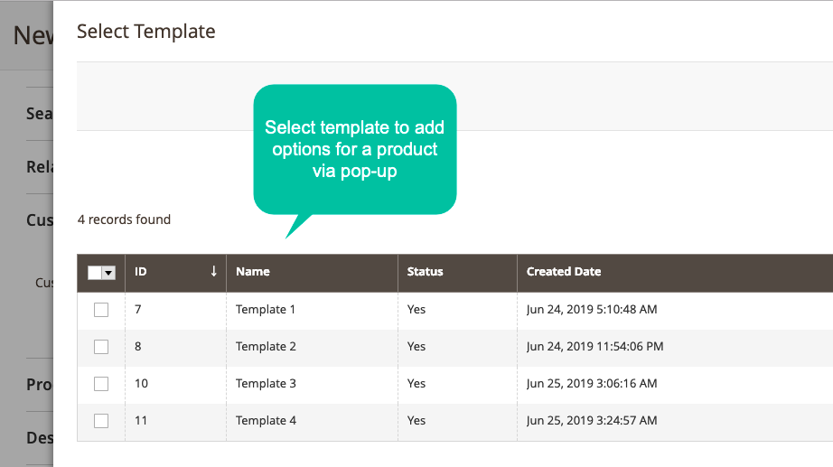 Magento 2 product options assign templates via many methods